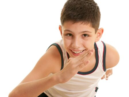phisical: A closeup portrait of a handsome running boy; isolated on the white background
