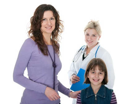 family doctor: Happy girl and her mum in front of a doctor figure; isolated on the white background