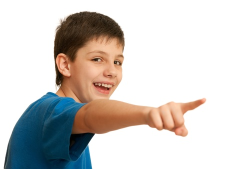 side order: A pointing forward laughing boy; isolated on the white background