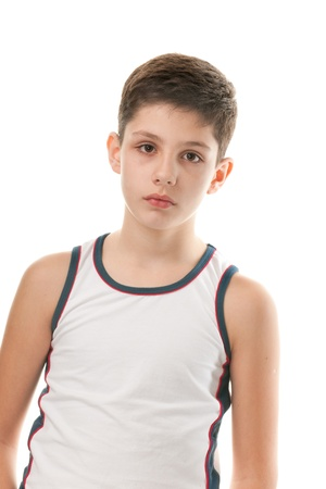 undershirt: A portrait of an athletic handsome boy; isolated on the white background