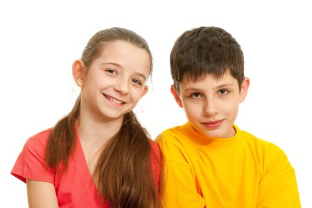 A portrait of a cheerful girl and a smiling boy; isolated on the white background photo