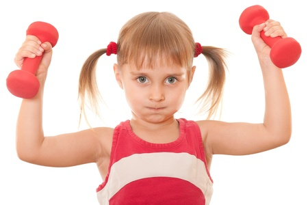 barbel: A little girl in red is holding red dumbbells in the hand; isolated on the white background