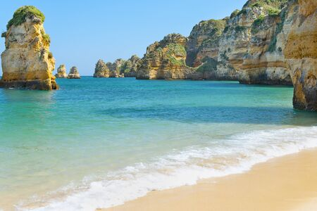 Lagos: Rocks and sandy beach in Portugal, Lagos