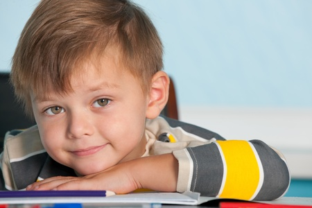 infant school: A portrait of a smiling boy at the desk