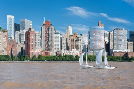 View of the city of New York from Hudson river photo