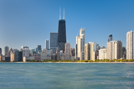 chicago skyline: View of the city of Chicago from Michigan lake