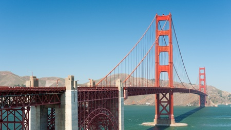 Golden Gate Bridge in San-Francisco; people unrecognizable; GPS information is in the file Stock Photo