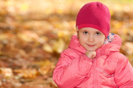 A portrait of a little girl in the autumn park photo