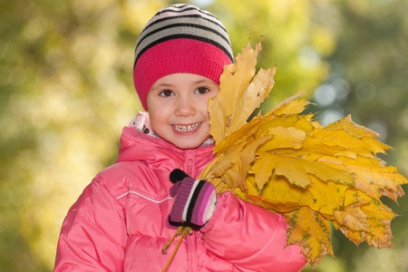 A little girl is holding yellow leaves in autumn photo
