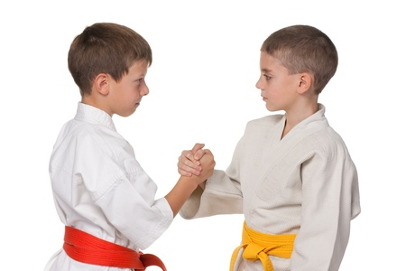 aikido: A portrait of handshaking boys in kimono; isolated on the white background Stock Photo