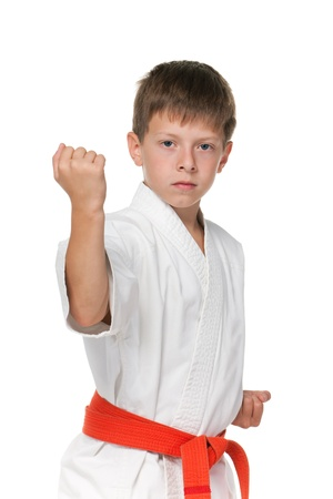 aikido: A portrait of a confident boy in kimono; isolated on the white background Stock Photo
