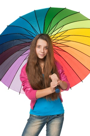 A portrait of a fashion girl with an umbrella; isolated on the white background photo