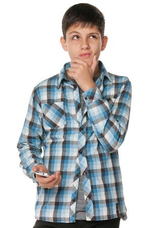 A portrait of a fashion pensive teen; isolated on the white background photo