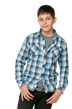 A portrait of a fashion smiling teen; isolated on the white background photo