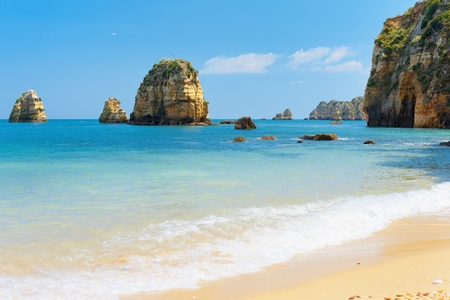 Lagos: Rocks and sandy beach in Lagos, Portugal