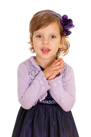 speak out: A portrait of a little girl which tells an interesting story; isolated on the white background