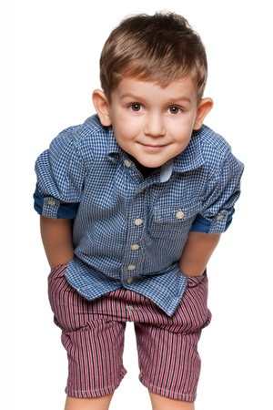 A portrait of a cute little boy; isolated on the white background