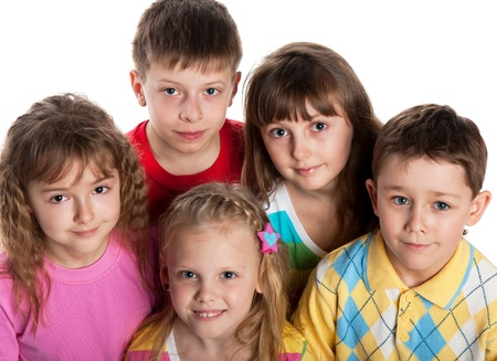 five people: Five children are standing together; isolated on the white background Stock Photo