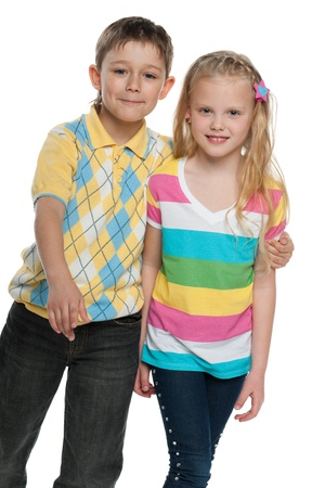 Happy boy and a girl are going together; isolated on the white background