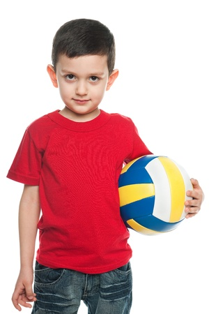 boy ball: A portrait of a boy with a volleyball ball; isolated on the white background
