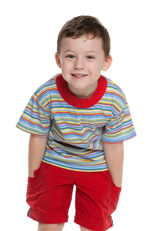 A portrait of a cute little boy in red; isolated on the white background Stock Photo - 13024716