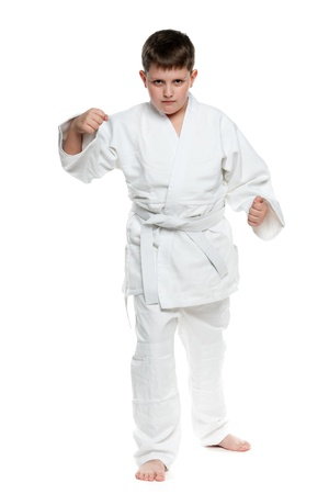 karate boy: A portrait of a confident boy in fighting stance; isolated on the white background