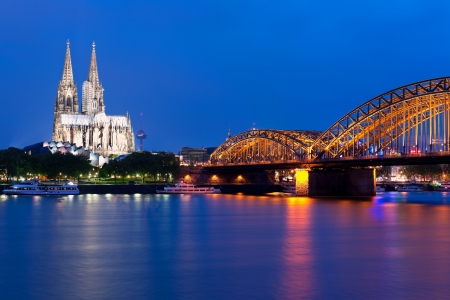 Wonderful view of night Cologne over the Rein river  GPS information is in the file photo