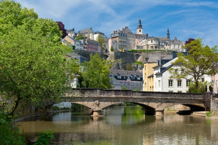 A bridge over the Alzette river in the Grund, Luxembourg