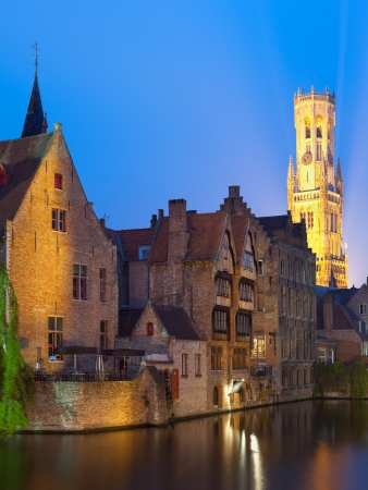 A night view on Belfort over the Dijver river in Bruges  GPS information is in the file photo