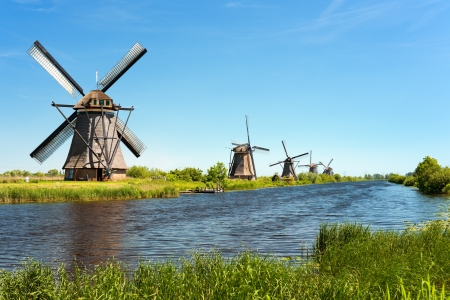 A windmills at Kinderdijk  GPS information is in the file photo