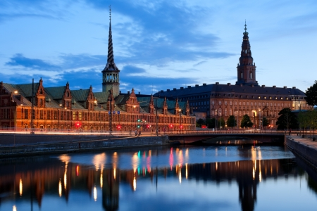 Night view on Christiansborg Palace over the channel in Copenhagen GPS information is in the file