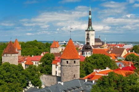 Panoramic view on the Old City of Tallin in summer; GPS information is in the file photo