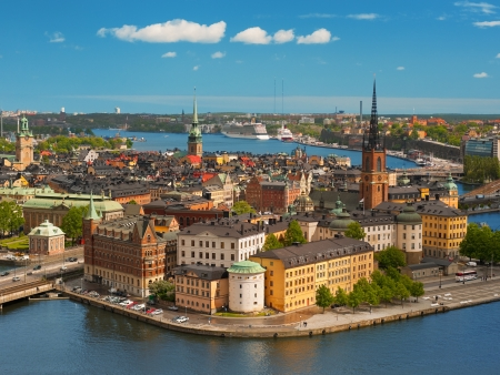 Panoramic view on the Old Town of Stockholm, classical skyline; GPS information is in the file photo