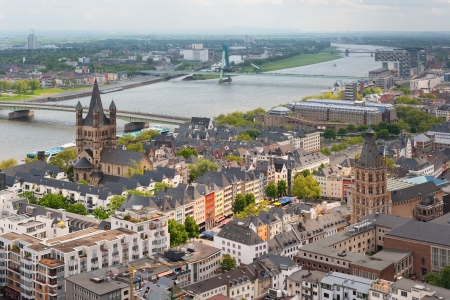 rhein: View of the Rhein and Cologne from the viewpoint of Cologne Cathedral. Stock Photo