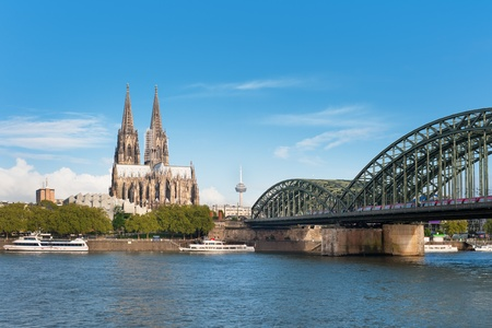 cathedrals: Wonderful view of Cologne over the Rhein river.
