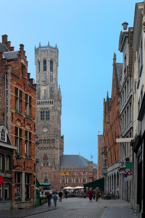 View on old street and Belfry in Bruges. GPS information is in the file