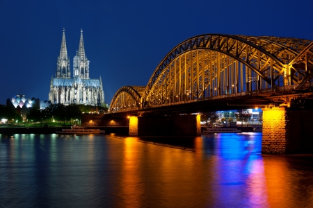 Wonderful view of night Cologne over the Rhein river,
