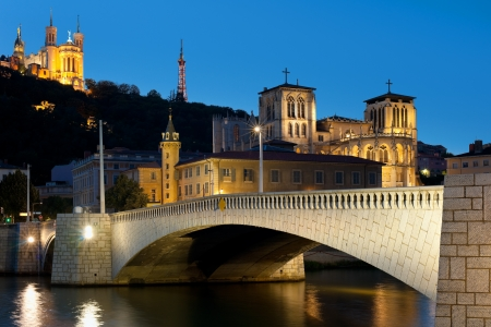 lyon: Classical view of Lyon over the Saone river at night  G Stock Photo