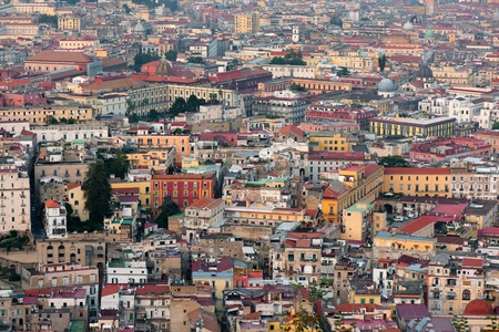 napoli: View on Naples in the evening  Stock Photo