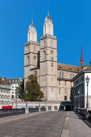 grossmunster cathedral: View on Grossmuenster in Zurich, Switzerland   Stock Photo