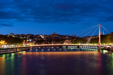 View on Bridge of the Palace of Justice in Lyon, France  photo
