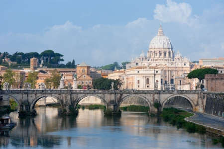 Classical view on Vatican over the Tiber river photo