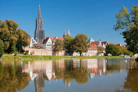 Wonderful view on Ulm over the Danube river in the morning  GPS information is in the file photo