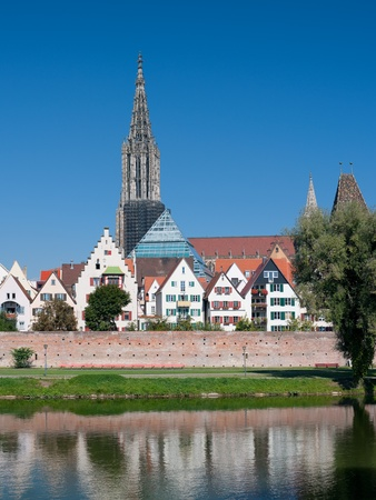 View on buildings of Ulm on the Danube riverbank  GPS information is in the file photo