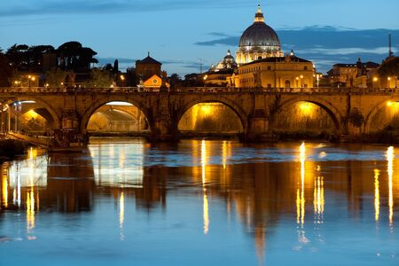 Night view on Rome and Vatican over the Tiber river  GPS information is in the file photo