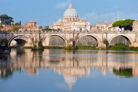 Morning view on Vatican over the Tiber river photo