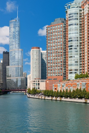 Great view on autumn Chicago over the Chicago river; GPS information is in the file Фото со стока