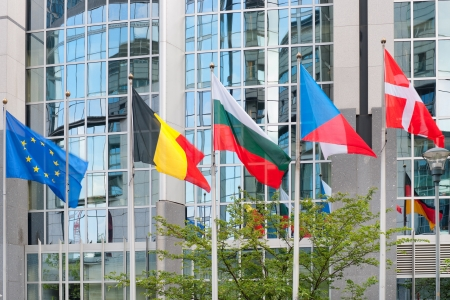 Flags near the European Parliament building in Brussels  GPS information is in the file