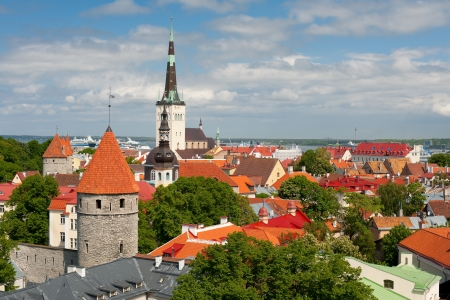 Historic buildings in Old Town of Tallinn, Estonia  GPS information is in the file photo
