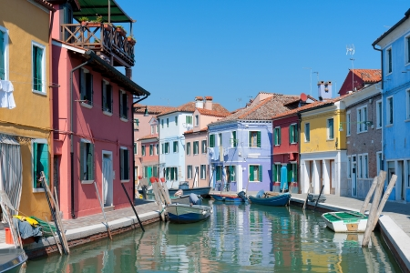 Colorful fishing houses on the embankment of Burano, Italy  GPS information is in the file photo